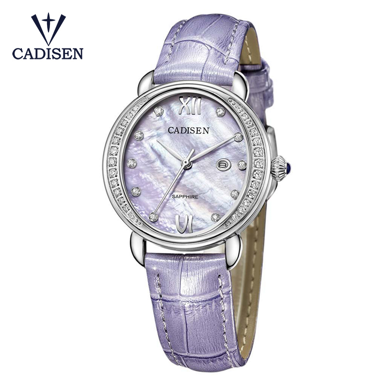 CADISEN Luxury Dress Watch Brand Ladies Diamond Analog Leather Band Quartz Wrist Watches Women Female Clock Relogio Feminino cute cat pattern women fashion watch 2017 leather band analog quartz round wrist watch ladies clock dress watches relogio time