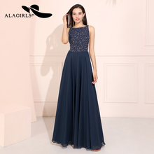Alagirls A Line Chiffon Beading Prom Dresses  Sexy Backless Evening Dress Vestido de fiesta Formal Party noche