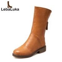 LebaLuka Size 33 44 Women Winter Mid Calf Boots Zipper Warm Fur Shoes Woman Round Toe Flats Boots Ladies Concise Short Boots