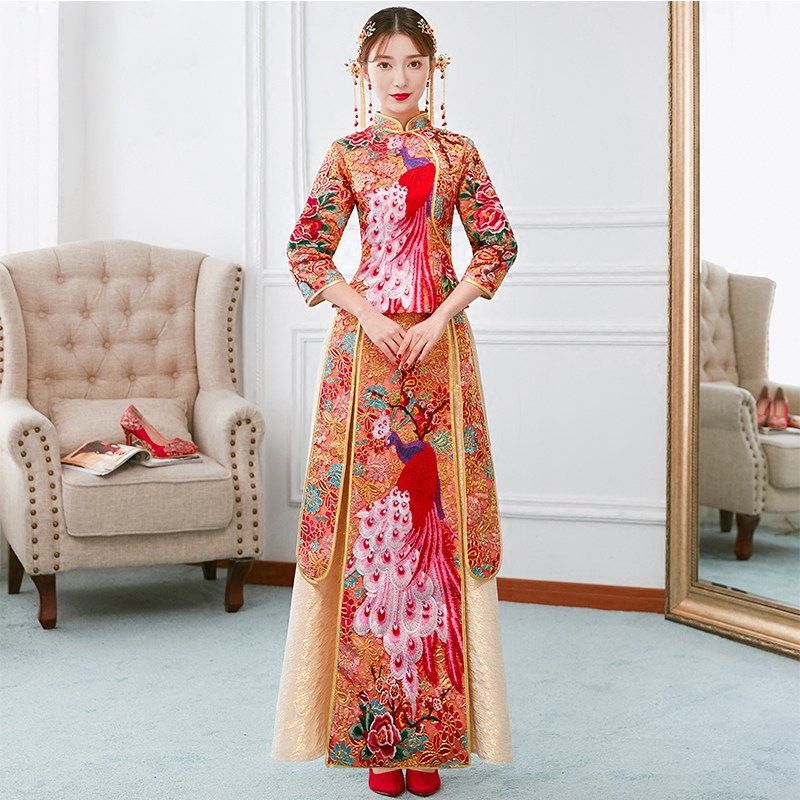 Chinese Traditional Cheongsam Exquisite Embroidery Bride Wedding Vintage Stage Show Clothing Elegant Qipao Evening Dress Set