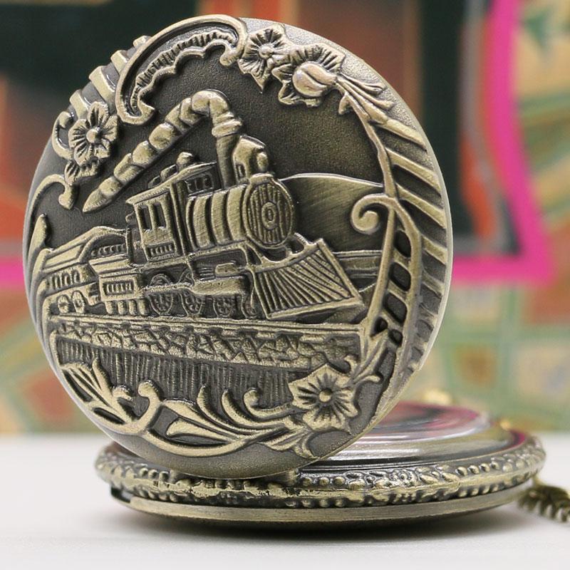 Retro Bronze Trem Locomotiva Da Estrada de ferro do vintage Quartzo Relógio  de Bolso Hunter Completa Pingente Com Corrente Presente das Mulheres dos  homens ... 56ccd9206d