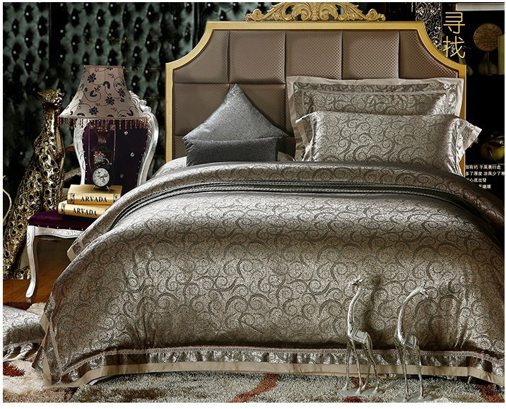 couvre lit luxe Luxe noir brown satin jacquard ensemble de literie roi queen  couvre lit luxe