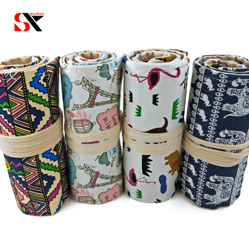 Handmade Canvas School Pencil Case 36/42/48/72 Holes Roll Up Pencil Bag Pouch Makeup Comestic Brush Portable Pencil Box 36 48 72 holes pencil bag school canvas painting stationery roll pencil case sketch pencil brush bag kits rolling up holders bag