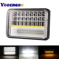 2Pcs 4x6 Square 73W Led Driving Fog Light with Yellow Turn Signal Hi/Lo DRL for Trucks 4x4 Offroad