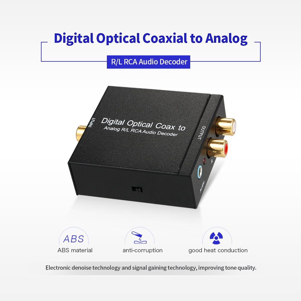 Digital Optical Coaxial to Analog R/L RCA Audio Decoder for either home or professional audio switching analog L/R audi smal a6 hifi digital amplifier 50wx2 dac digital 110v 220v native dsd512 usb optical coaxial lp player cd analog input