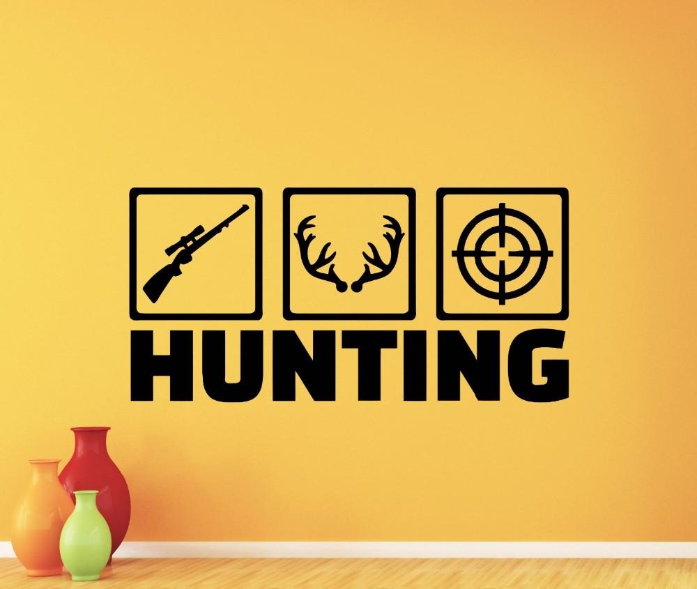 Deer Hunting Wall Decal Deer Hunt Hunter Shotgun Deer Wild Wall ...