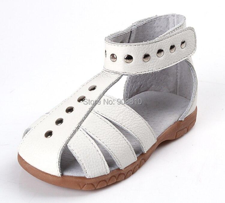Filles sandales en cuir 100% véritable enfant en cuir chaussures argent rose blanc fermé toe chaussures d'été Rome sandales chic unique