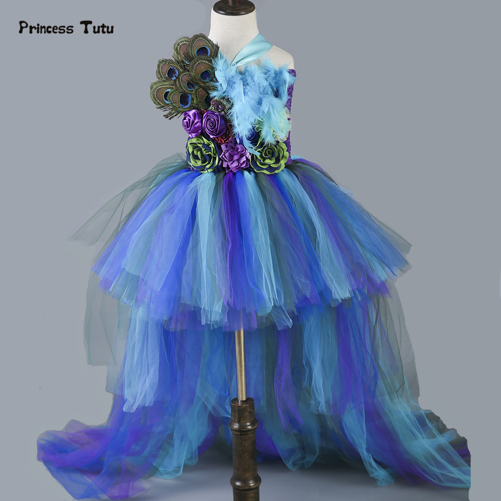 Girls Peacock Tutu Dress Long Train Tail Tulle Feathers Flowers Girl Pageant Dress Baby Kids Girls Party Birthday Dance Dresses baby girl kids peacock feather dress