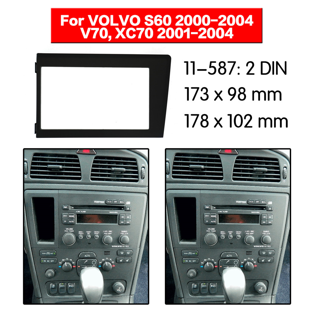 Car Radio Fascia Multimedia Frame Kit For VOLVO XC70/ V7  2000-2004 S60 2001-2004 Bezel Facia Panel Trim Dash 2 Din Mount Kit