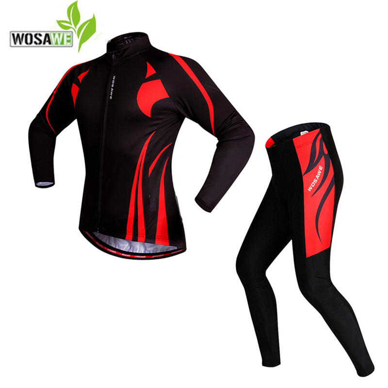WOSAWE Long Sleeves Cycling Jersey pants suit men Tights road Bike Bicycle Long trouses  ...