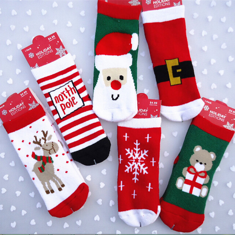 New kids Christmas socks cotton baby kids Christmas gift Santa Claus ...