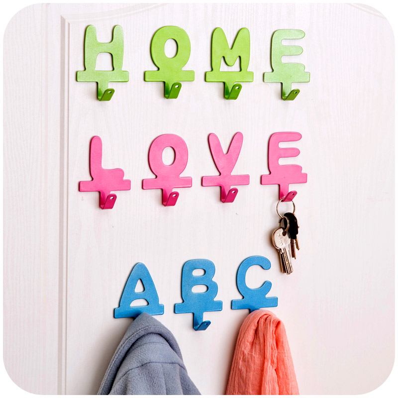 Free Shipping!ABC Home Love Letter metal adhesive hook Diy cloth Hanger Iron Wall Hooks Key Hanger House Decor Mixed Color