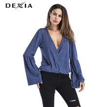 DEXIA Deep V Neck Wrap Sexy Top Women Shirts 2017 Autumn New Women's Fashion Tee Flare Sleeve Long Sleeve Blouse Clothing