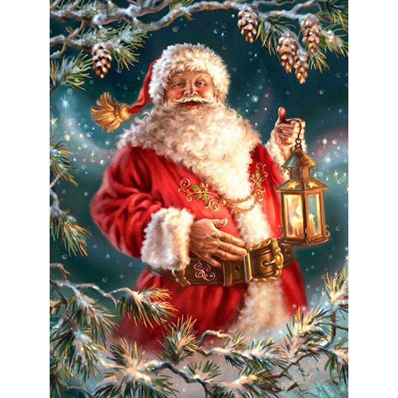 embroidery Santa Claus dia mond painting Cross 5d diy diamond Stitch full round Rhinestone mosaic home decoration