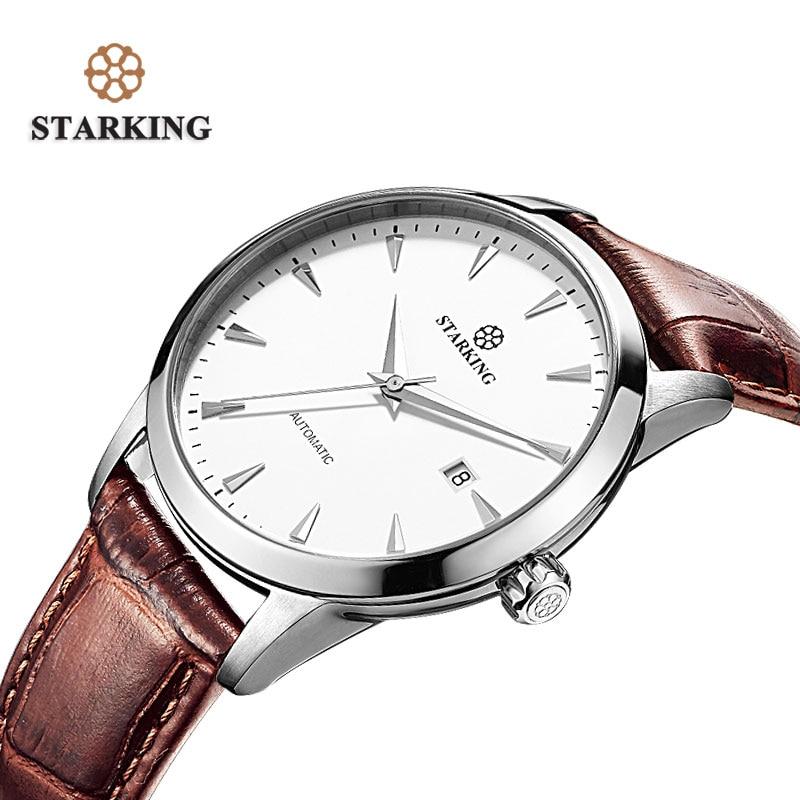 STARKING Brand Women Auto Date Automatic Mechanical Watches Sapphire Genuine Leather Strap Black Business Dress Watch AL0184 все цены