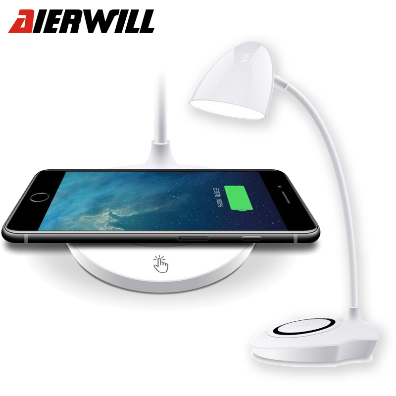 QI Wireless Charger Table <font><b>LED</b></font> Lamp For Iphone X 8 8 Plus Wireless Charging Pad Fast Charger for Samsung Galaxy S8 PlusS6 <font><b>S7</b></font> <font><b>Edge</b></font>