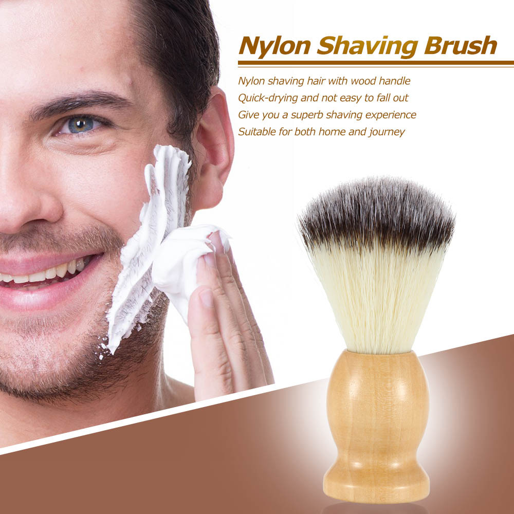 1 Pc Nature Wooden Handle Soft Men's Shaving brush Pure Big Nylon Hair Soft Face Cleaning Makeup Facial Razor Brush Shave Tools