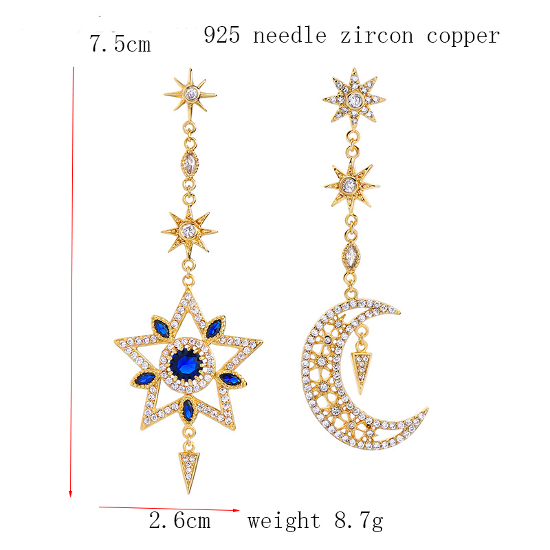 Dream-it-possible Long female ear stud star moon earrings Europe exaggerated luxurious nationality wind trendy fashion jewelry
