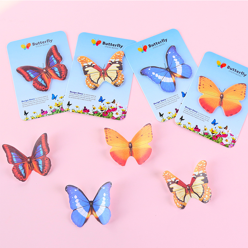 2Pack/Lot New Rainbow Colorful Beautiful Butterfly Post It N Times Memo Pad Notebook Student Sticky School Label Gift E2114