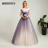 2018 New Design Off The Shoulder A Line Long Prom Dresses Gradient Soft Tulle Long Evening