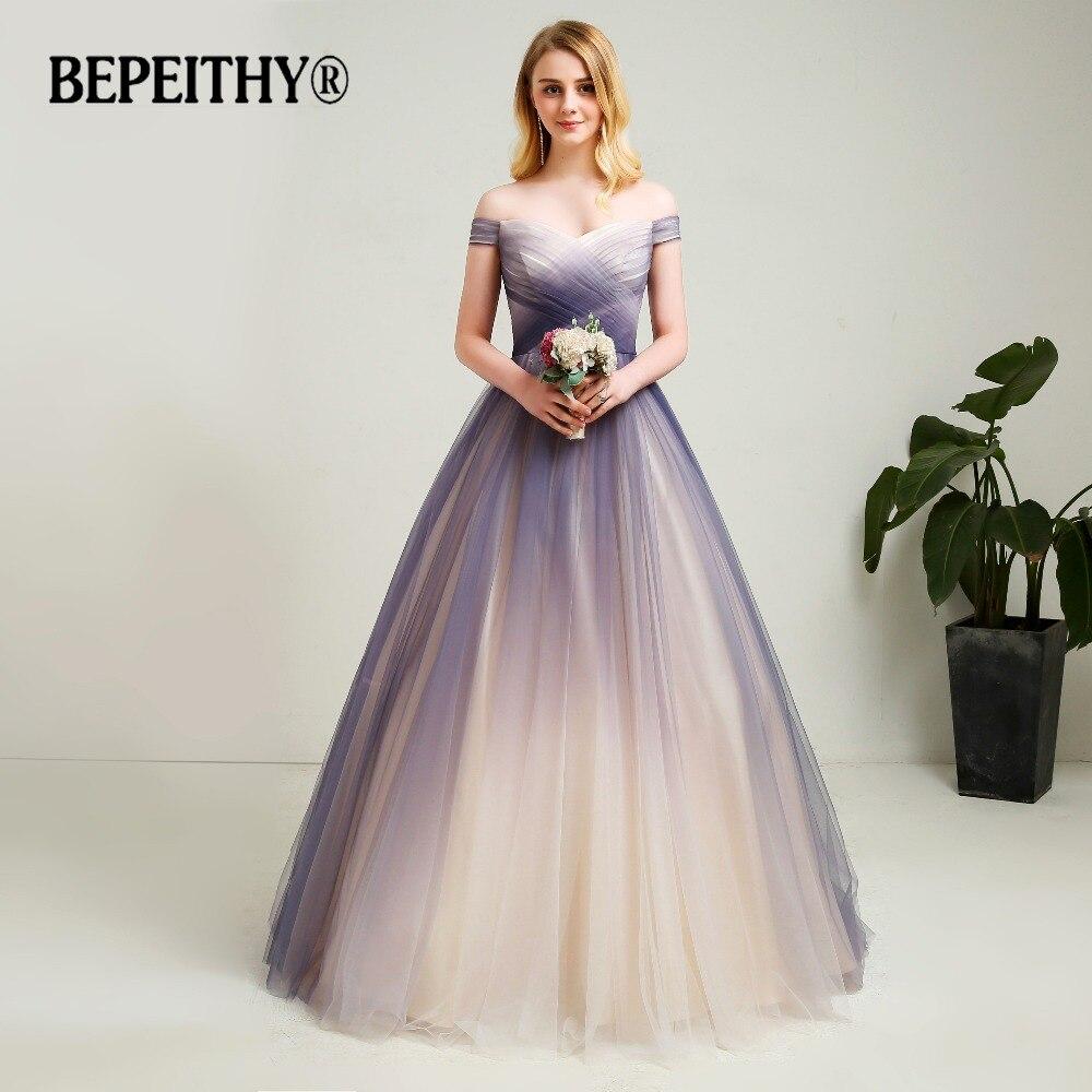 2019 New Design Off The Shoulder A line Long Prom Dresses Gradient Soft Tulle Long Evening Party Dress Vestido De Festa