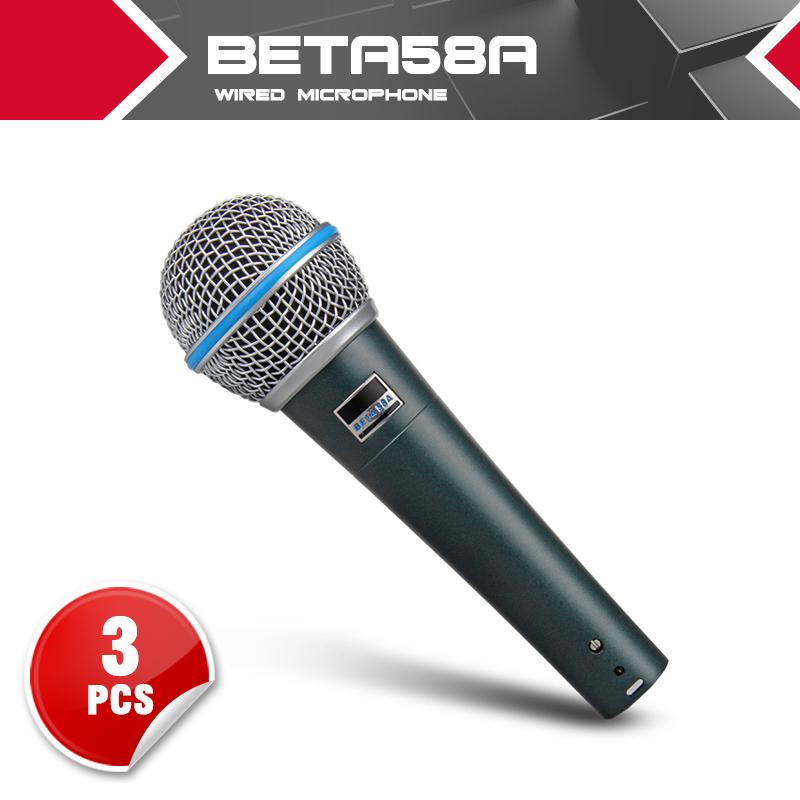 Prix pour 3 pcs Haute qualité Studio BETA58a beta58 58A Clear Sound Handheld Filaire Karaoké Microphone Mic