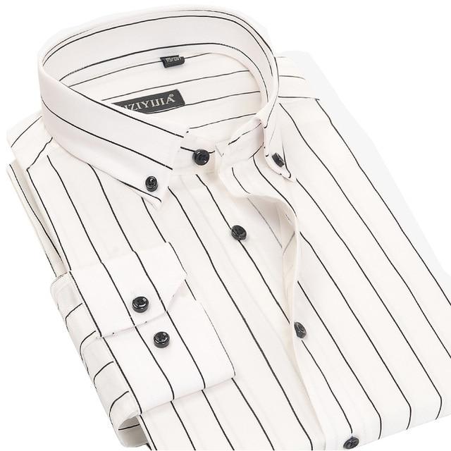 83533c3bde 100% Cotton High Quality Men Casual Stripe Shirts Square Collar Button-Up  Long Sleeve Business Formal Men Dress Shirt