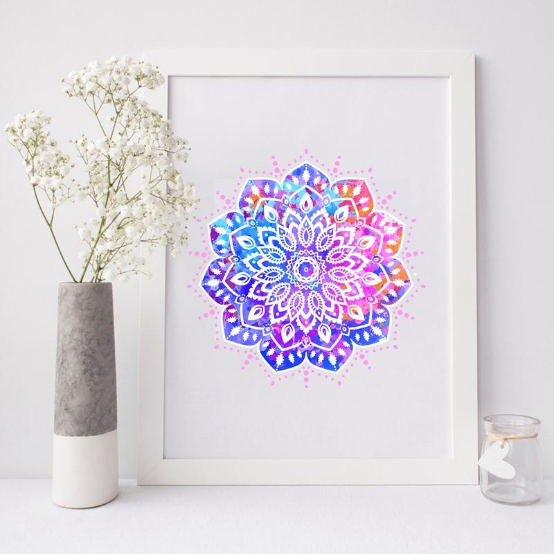 Toile tableau mandala multicolore