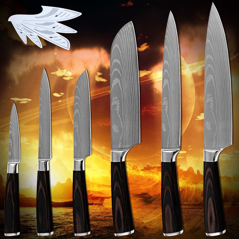 Hot products six piece set kitchen font b knives b font laser Damascus pattern 7Cr17stainless steel