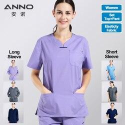 Elasticiteit Katoen Spandex Body Verpleegster Uniform Medische Verpleging Scrubs Voor Vrouwen Ziekenhuis Pak Set Werkkleding Schoonheidssalon Apotheek