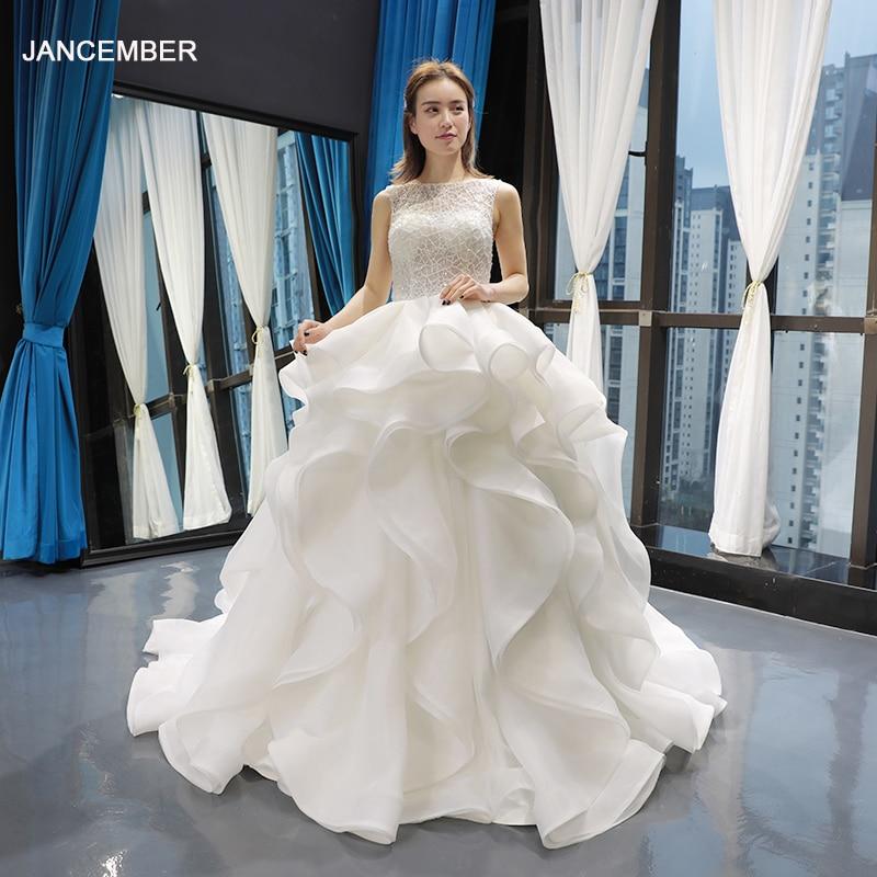 J66720 Jancember Princess Wedding Dresses Brush Train O-neck Sleeveless Ball Gown Bridal Gowns 2019 Vestido De Noiva Princesa
