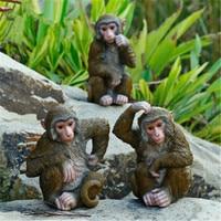 Creative Colophony Crafts Snub nosed Monkey Sculpture Simulation Animal Rockery Decoration Garden Furnishing Articles G1070