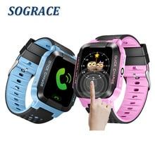 Sograce дети SmartWatch GPS ребенок наручные часы 2 г GSM трекер умные часы для детей ребенок Смарт-часы освещения для IOS Android