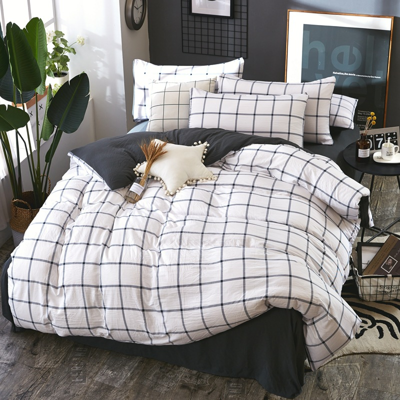 Bedding Set Red white gray pink blue lattice British style 4pcs/3pcs Duvet Cover Sets Soft Polyester Bed Linen Flat Bed SheetBedding Set Red white gray pink blue lattice British style 4pcs/3pcs Duvet Cover Sets Soft Polyester Bed Linen Flat Bed Sheet