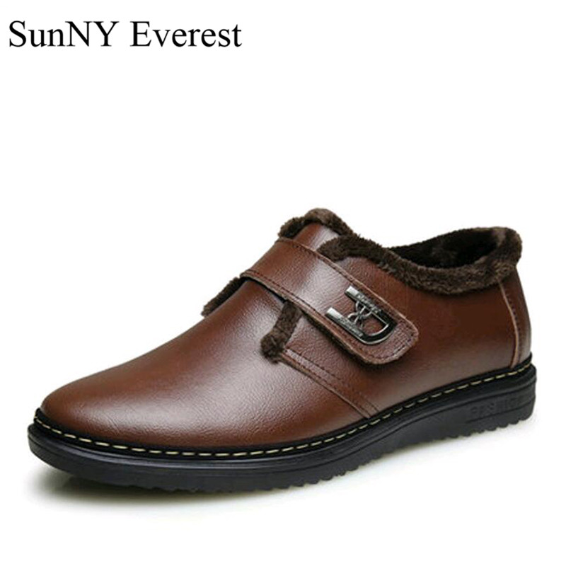 SunNY Everest real leather winter boots men ankle shoes fashion male plush rubber sole  warm boots black brown38-45