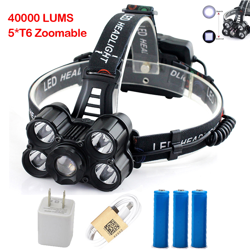 USB Rechargeable 5*CREE XML-T6 LED Headlight 40000 Lumens Headlamp Zoomable head light Outdoor lamp for 3*18650 battery