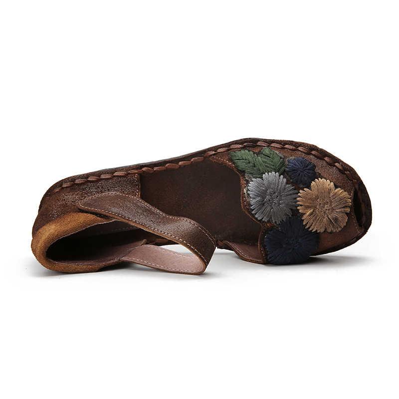 VALLU Yaz Ayakkabı Kadın Sandalet Hakiki Deri El Yapımı Çiçekler Peep Toes Ayak Bileği Askı kadın Düz Sandalet