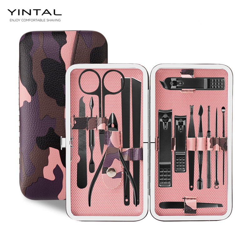 15 PCS/set Nail Art Manicure Tools Set Nails Clipper Scissors Tweezer Knife Manicure Sets Stone Pattern Case For Nail Manicure stylish 24 pcs smile expression pattern nail art false nails page 1