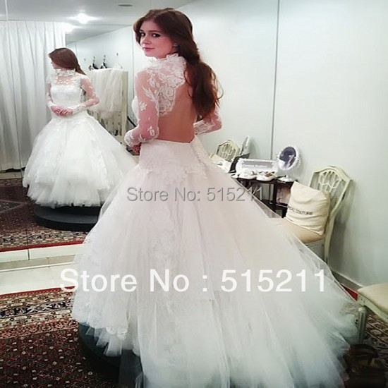 Wedding Dresses Wedding Gown Sheer Long Sleeves White: High Neck Sheer Lace Long Sleeves Open Back White Organza