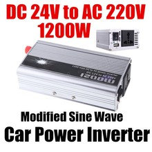 1200W Portable Car Automotive Power Inverter Charger Converter DC 24V to AC 220V voltage transformer Modified Sine Wave