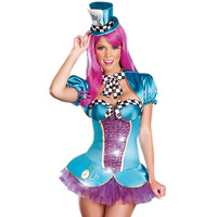 Circus Costume Adults Female Totally Mad Hatter Halloween Costume Women Cosplay Deluxe Women' s Magician Fancy Dresses Carnaval