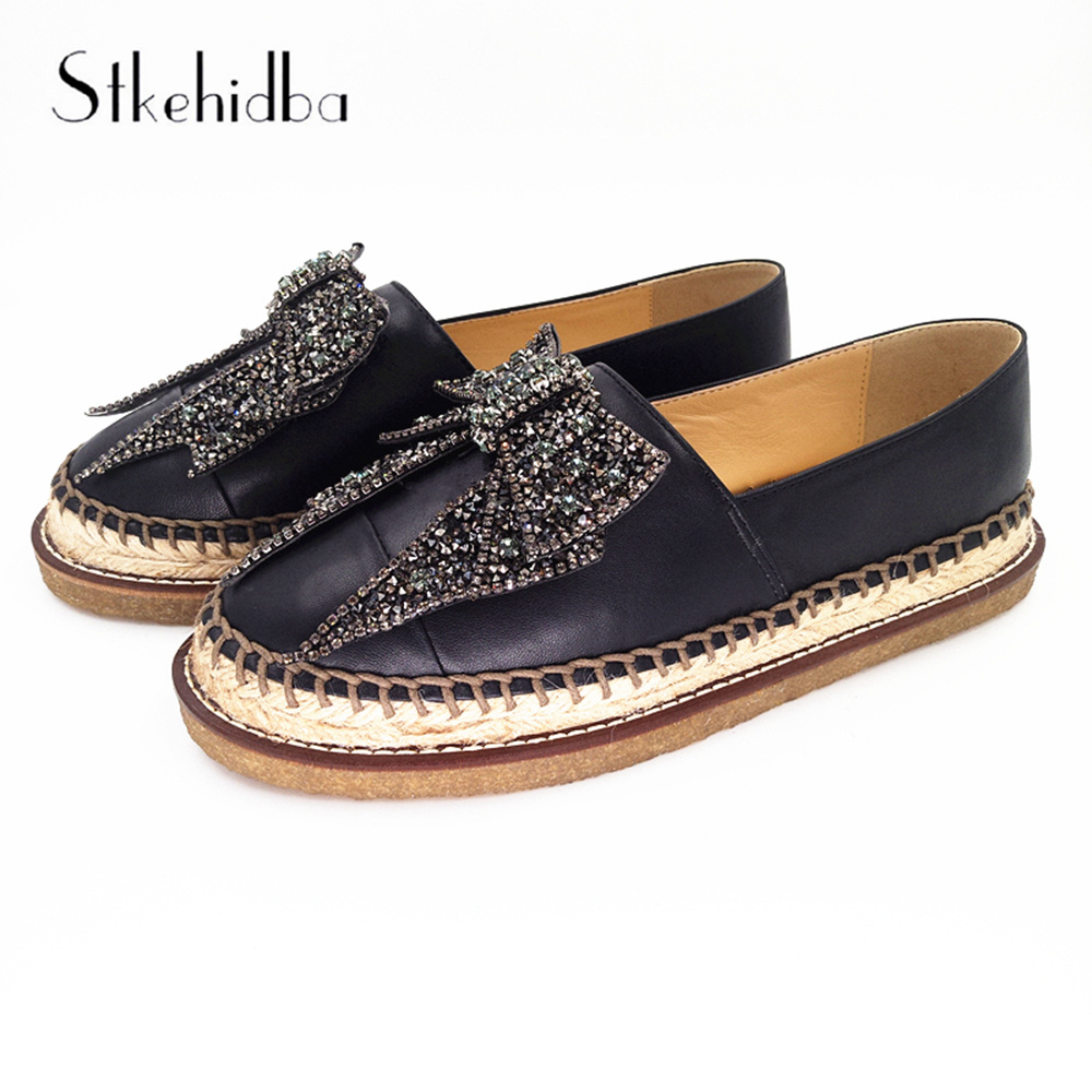 Women s Shoes Genuine Leather Breathable Fashion Espadrilles For Women Spring Summer Rhinestone Slip On Round