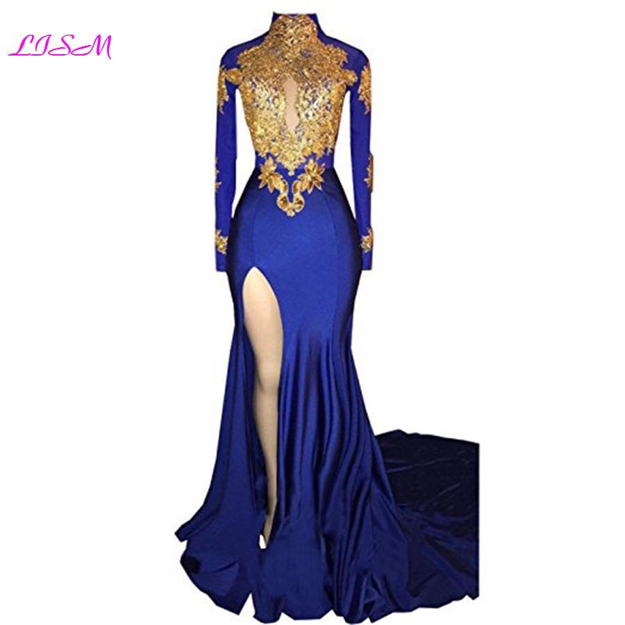 Real Photo New High Neck Mermaid 2018 Bridesmaid Dress Custom Stain Prom Dress vestido longo com fenda
