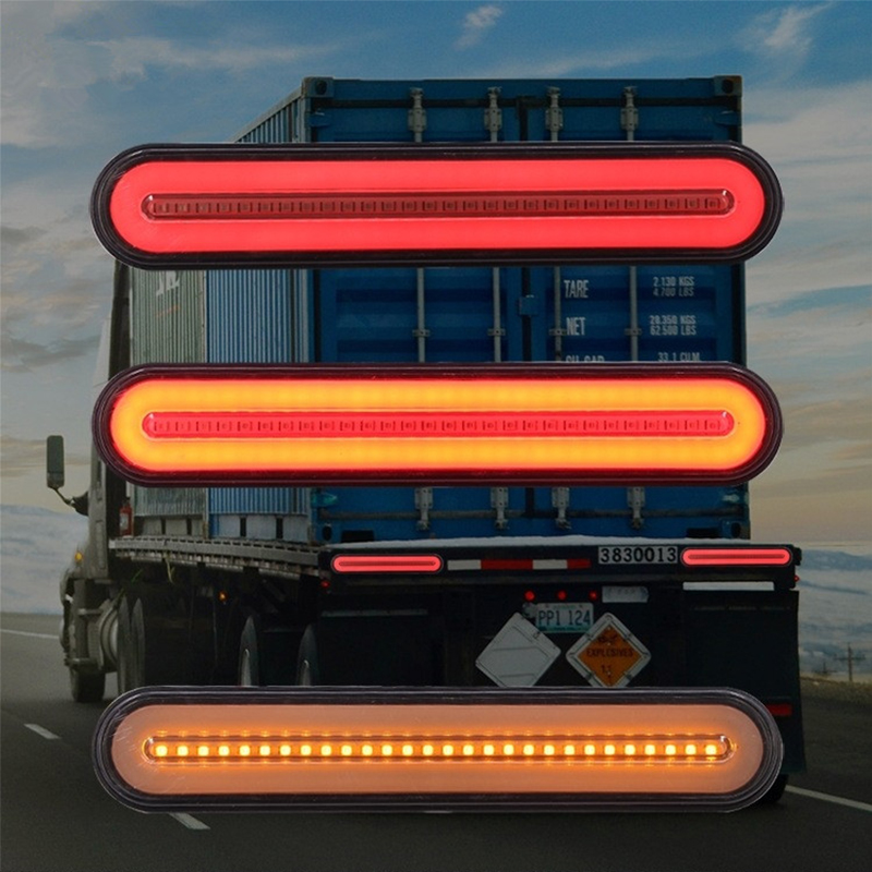 2PCS 100 LED Brake Tail Turn Lights Waterproof Flowing Signal Light Lamp Tail Brake Light 3 In 1 Halo Ring Lights Truck Parts image