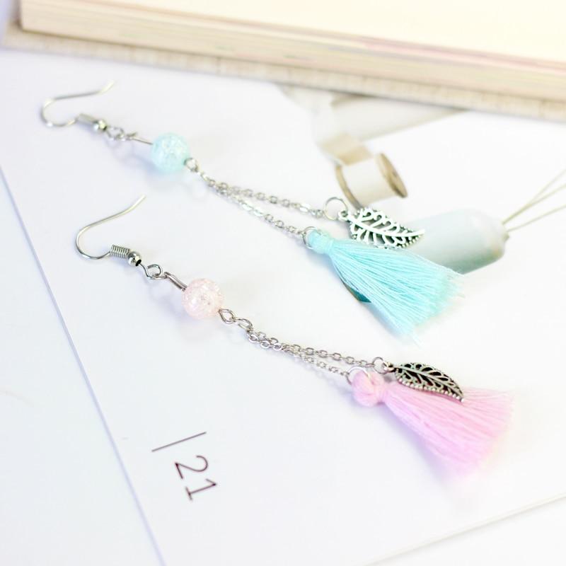 Balançar brincos simples longo borlas orelha linha selvagem brincos para mulher # n038