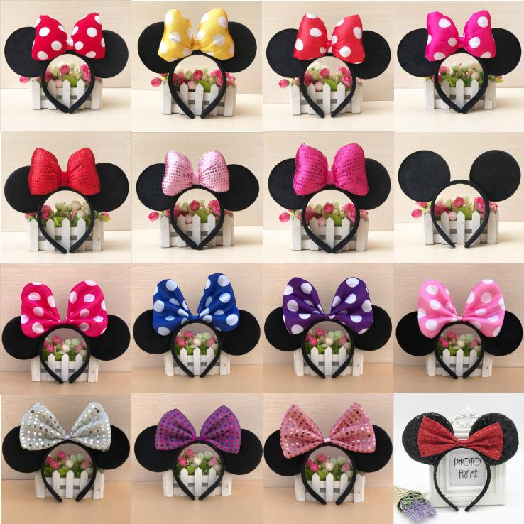 Disney Minnie Mouse Headwear Mickey Head Minnie Ears Girls HeadBand Princess Hoop Plush Toys Cosplay Hairdress Cotton Handmade