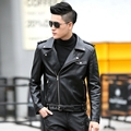 2016 Autumn Winter new leather clothing male short design V-neck male leather jacket outerwear Motorcycle jacket male