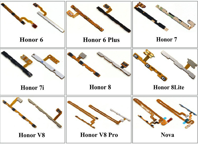 1PCS For Huawei Honor 6 6plus 7 7i 8 8Lite V8 V8pro Nova New Power Button On/off & Volume Up/down Buttons Flex Cable