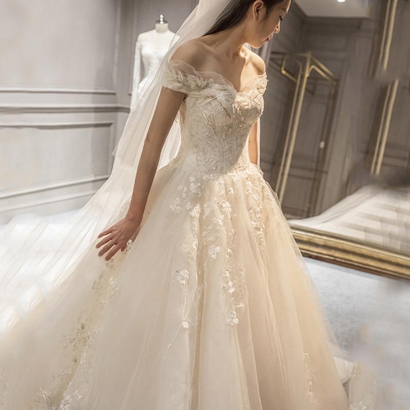 Lange halve mouw moslim kant trouwjurk hoge kwaliteit 2018 bruid - Trouwjurken - Foto 2