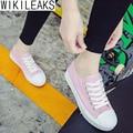 Wikileaks 2016 Новая Мода Женщины Повседневная Оболочка Головы Парусиновые Туфли Женщина Твердые Босоножки Студенческие Обувь Zapatillas Deportivas Mujer